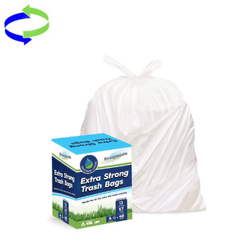 13 Gallon Biodegradable Heavy Duty White Trash Bags with Handle Ties for Kitchen , office