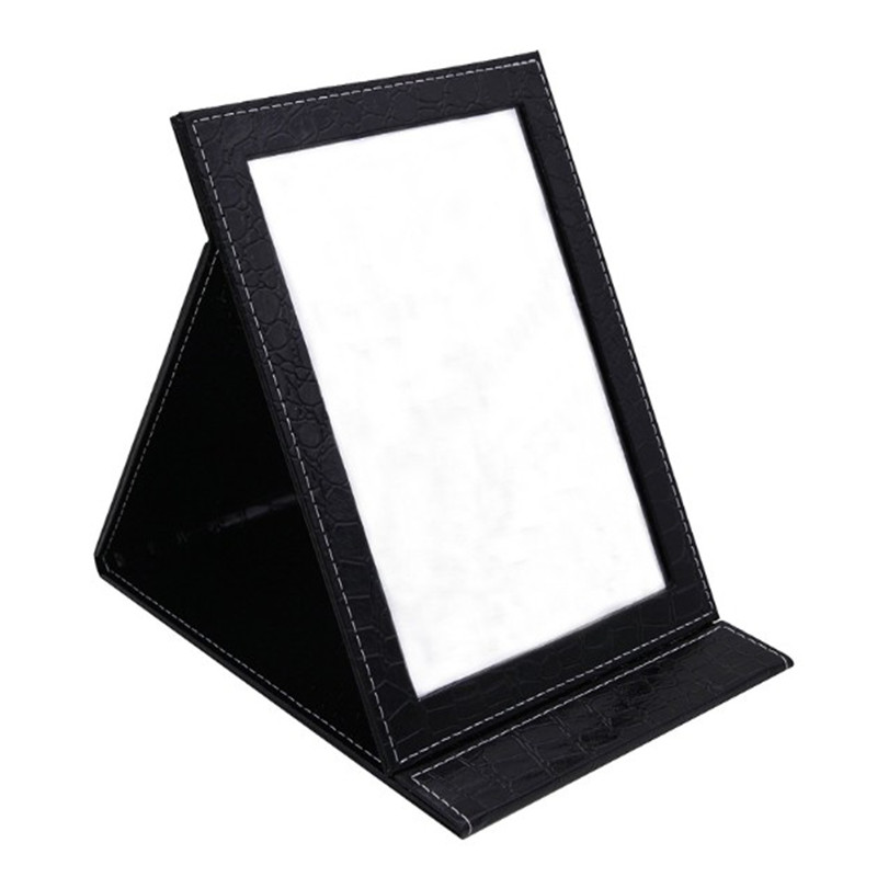 Oempromo portable folding pu leather square standing mirror