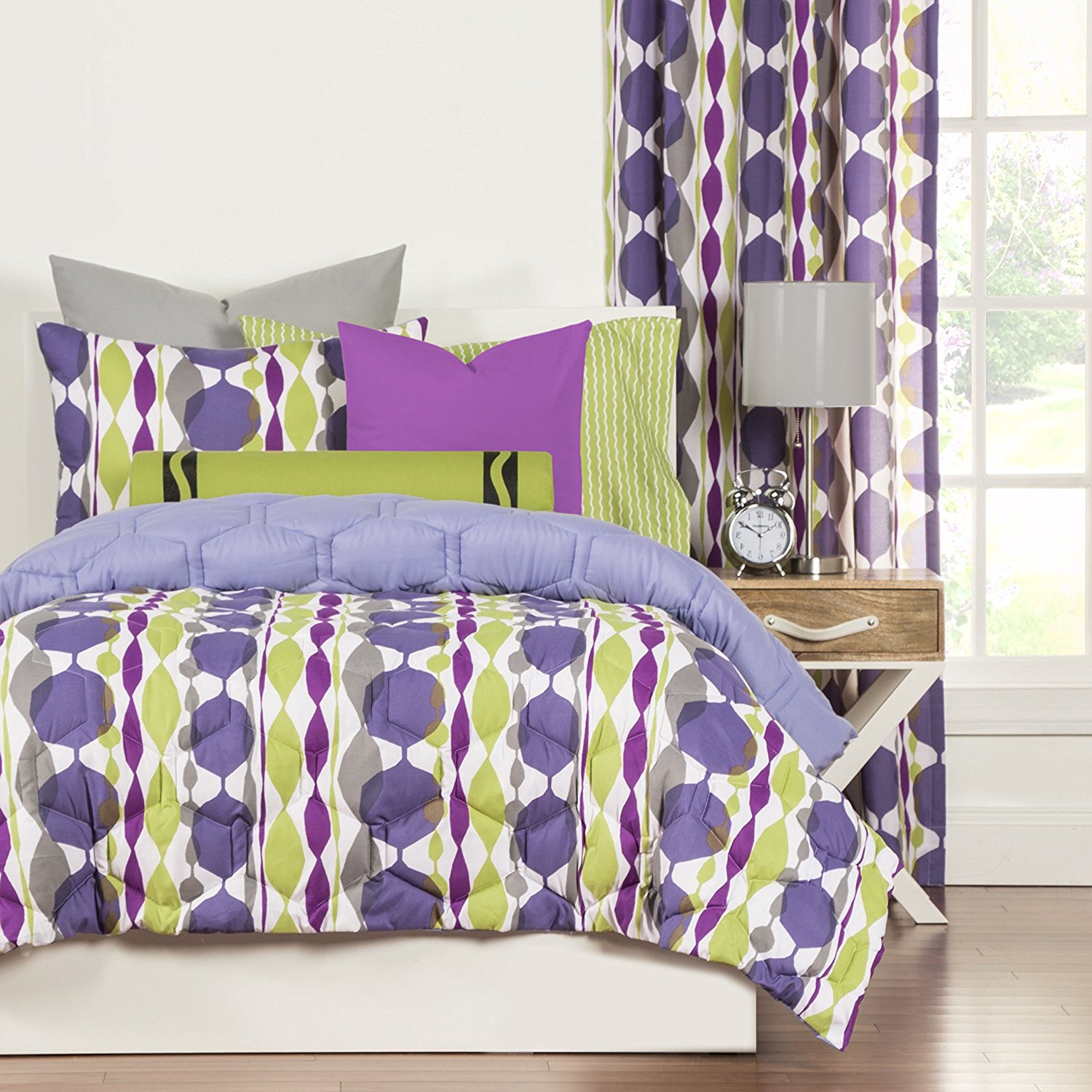 Buy Ht 2 Piece Multi Color Geometric Comforter Set Twin Green Grey Purple White Graphic Medallion Stripe Jeweled Teen Themed Reversible Kids Bedding For Bedroom Modern Casual Colorful Microfiber In Cheap Price