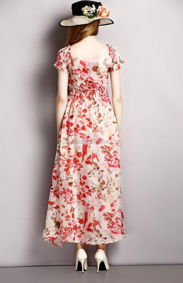 0502816cb9 2015 nuevos diseños mujeres señoras casual floral impreso gasa del verano  vestidos largos