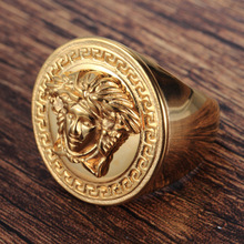 Europe and America Stainless steel Ring Men's jewelry wholesale Electroplate gold Medusa Titanium Ring