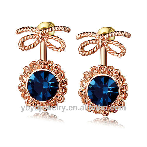 Bling Jewelry Blue Sapphire Color Sunflower Pave Dangle Earrings