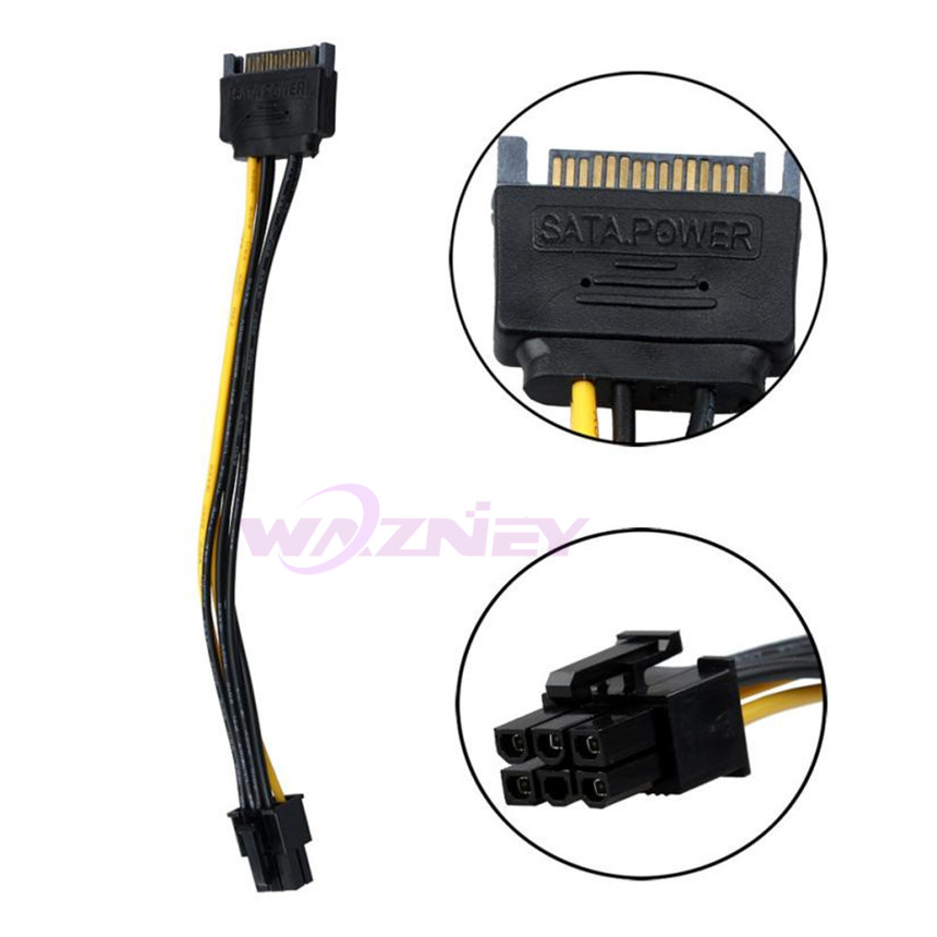 GPU 15 Pin SATA To 6 Pin PCI EXPRESS PCI-E Sata Graphics Converter Adapter Video Card Power SATA Cable cord