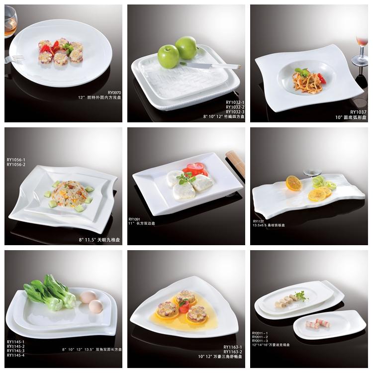 Japanese style wholesale white fine elegant long rectangle porcelain  japanese sushi plate