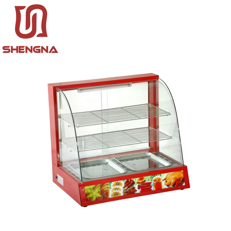 battery powered stainless catering food heated chicken warmer display /curved glass warming showcase