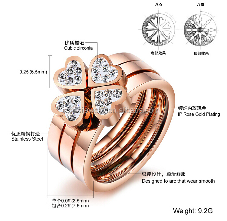rings gold ring elegant shine for beautiful wedding plated real leaf women clover e four free shipping
