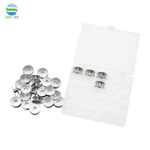 25PCS Stainless Steel Bobbin Sewing Machine Thread Bobbin Sewing Supplies With Clear Plastic Case Storage