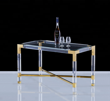 Furniture manufacturer wholesale modern clear acrylic table with glkass top