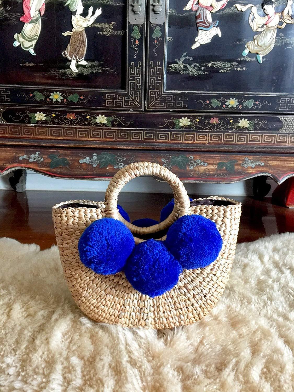 Mini Pom Pom Straw Bag,Blue Pom Pom Straw Bags for Women, Straw Basket Bag,Straw Basket Tote Bag,Beach Basket Bag,Pom Pom Straw Basket Purse,Basket Bag,Straw Bag,Straw Tote Beach Bag,Summer Straw Bag
