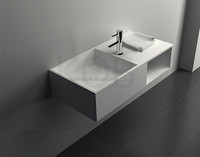 CK2011 high quality 100% pure acrylic toilet wall hung solid surface artificial stone bathroom basin