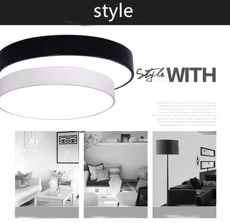 Ceiling Lights Lights & Lighting Ceiling Lights Ceiling Lamps Led Indoor Lighting Fixture Black/white Color Round Simple Decoration Dining Room Luminarias Lustre