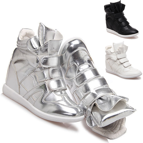 1498c9cc391 Get Quotations · Clearance 2015 Casual Invisible Height Increasing Shoes  Faux Leather Sport Boots With Velcro Women High Sneakers