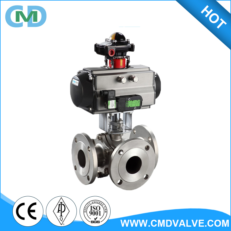 4 Inch SS304 SS316 Floating 3 Way Pneumatic Flanged Ball valve with drawing