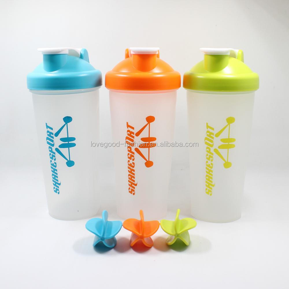 Eco-Friendly PP Plastic Sport Shake Bottles with Plastic Shake Ball
