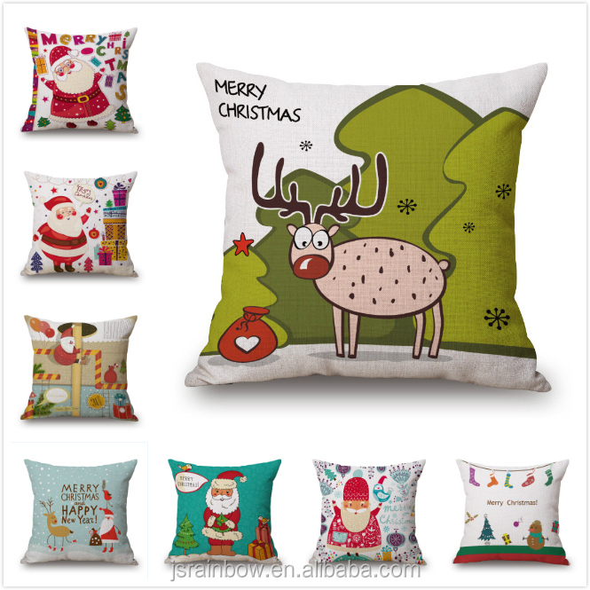 High quality custom made digital print christmas cotton linen cushion cover