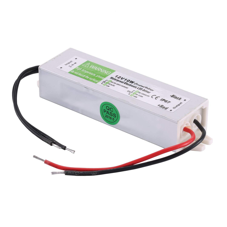 COOLM 12V 0.83A 10W Waterproof IP67 LED Power Supply Transformer 12V DC Output, 90V-250V 12v 10w LED Driver12v 10w LED Driver 12V10W LED Driver