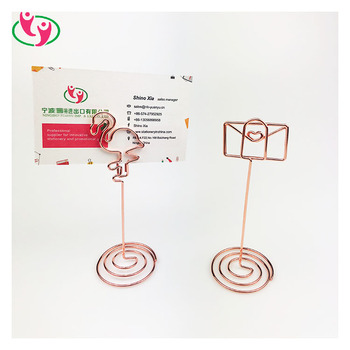 Metal High Quality Wholesale Custom stand Envelop Flamingo Shaped Memo Clip