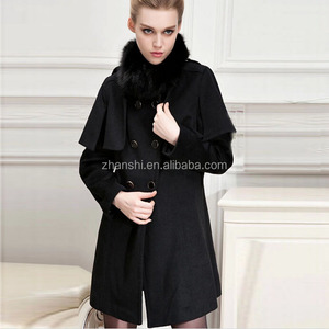 Wholesale Wool Poncho Wears Women Thick Winter Wool Coat with Fur Collar