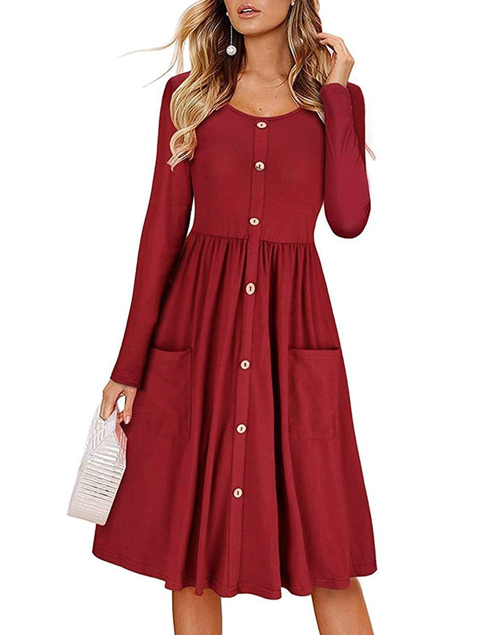 358d6689ccb Get Quotations · Womens Casual Long Sleeve Crewneck Dress Button Down Swing Midi  Pockets Dress