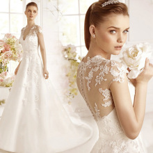 C71565A 2016 white Elegant crochet Sleeveless lace wedding dress for bridal