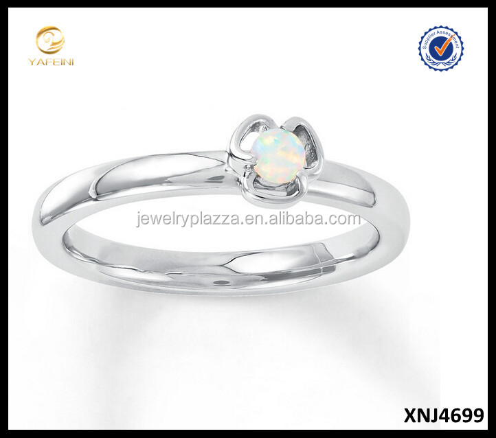 Lab-Created Opal 925 Sterling Silver Stackable Flower Ring