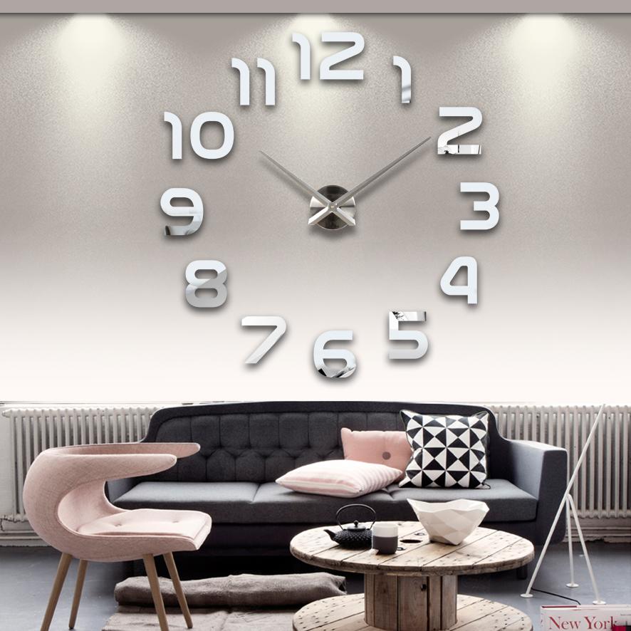 2015 new hot living room wall clock 3d clocks acrylic mirror sticker Needle Modern quartz modern