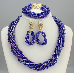 New arrival Royal Blue Wedding African Beads Jewelry Set Crystal Beaded Pendant Necklace Set Blue Dubai Bridal Jewellery Set