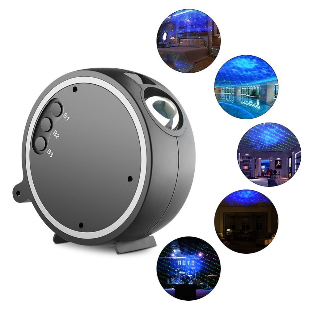 Sleep soother ocean wave LED projection lamp 360 rotation romantic Sky stars Christmas decoration laser night projector lights
