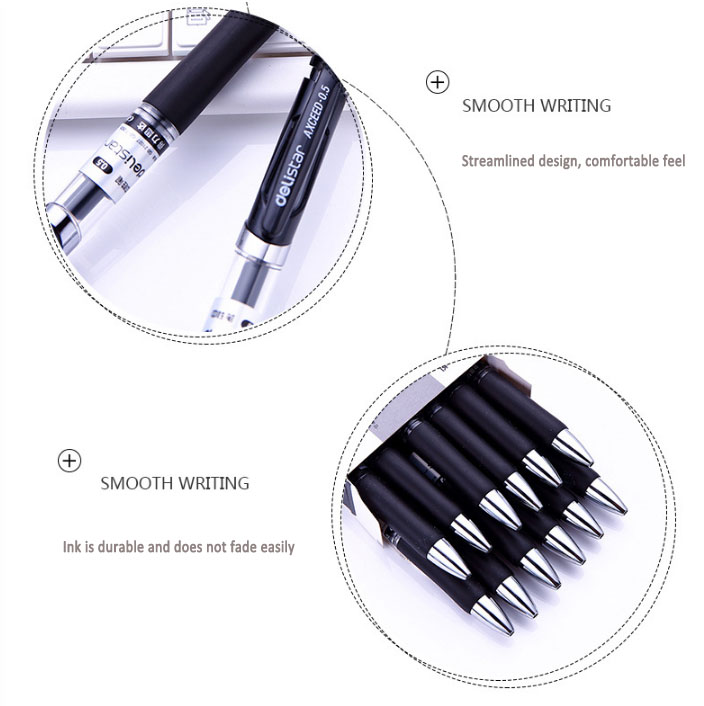 High quality classic pressed smooth click gel pen ink with  case