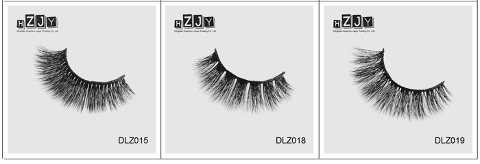HZJY DLZ005 2018 new style glue silk fur material strip lashes