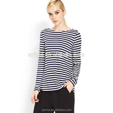 OEM primavera ultime <span class=keywords><strong>piatto</strong></span> knit long sleeve stripe <span class=keywords><strong>t</strong></span> shirt donna