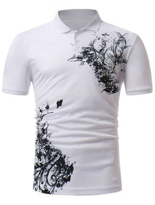 Polyester cotton all over print polo shirt men's polo t shirt in customized print high quality OEM polo t-shirt supplier