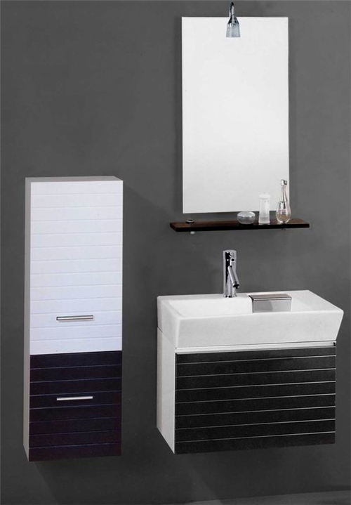 French Style Slim MDF Bathroom Vanity with Side Cabinet