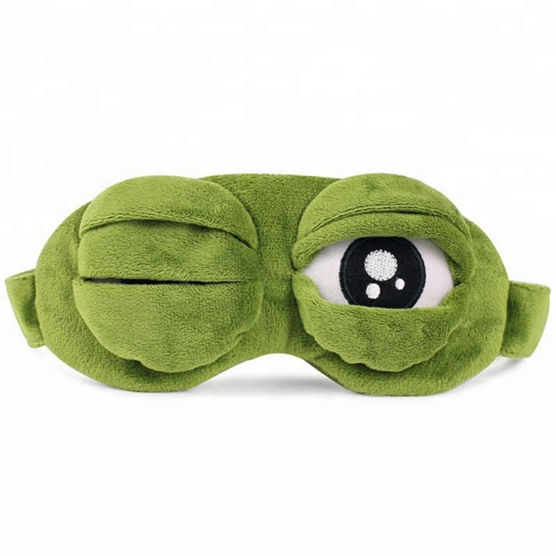 Green Frog Cartoon Cute Eyes Cover The Sad 3D Eye Mask Cover Sleeping Rest Sleep Anime Funny Gift sleeping eye mask