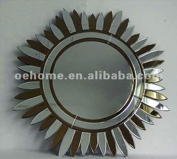 modern design wall decor sun mirror glass silver u0026 brown color