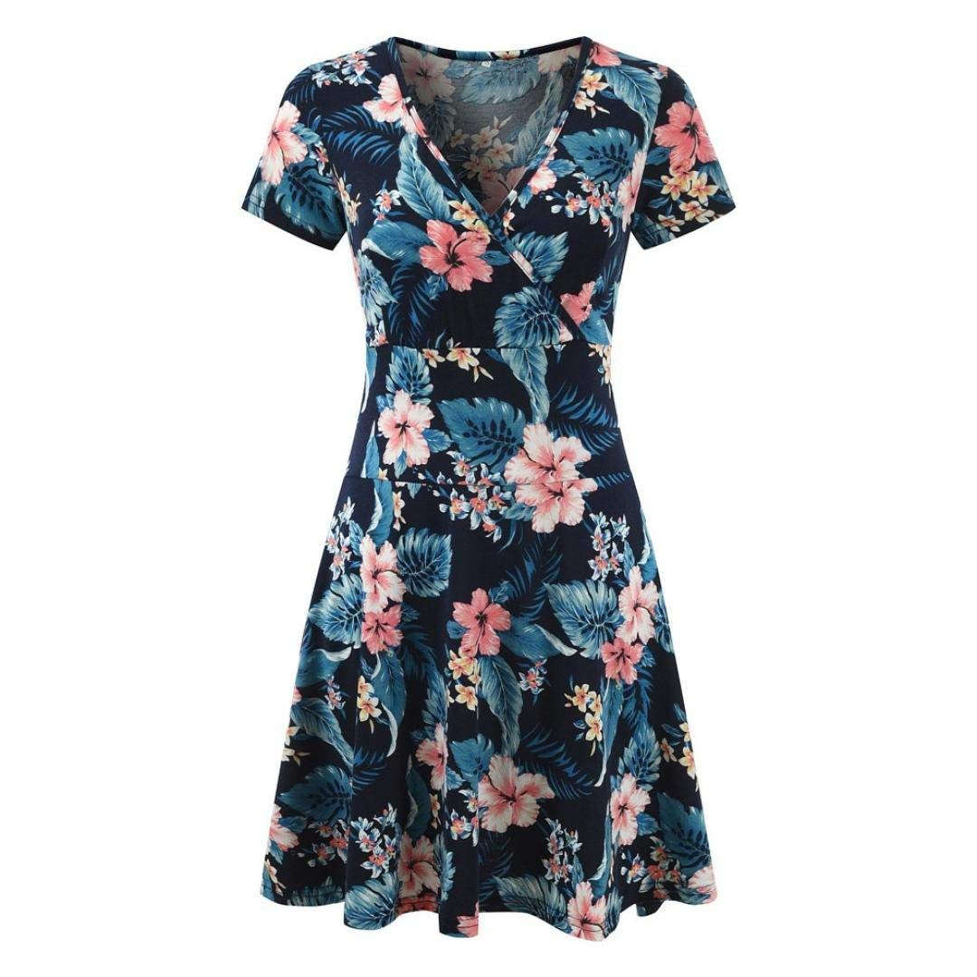 Mini Dress,Women's V-Neck Cap Sleeve Floral Print Casual Work Stretch Swing Dress