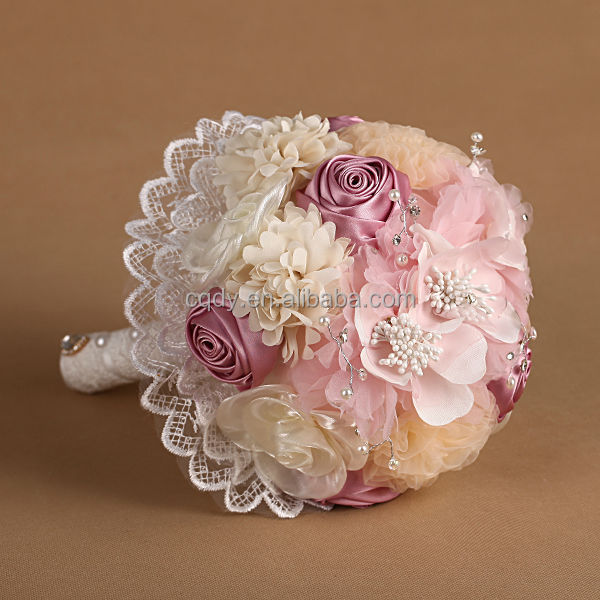 Pink Chiffon Flower Bouquet With Lace Wedding Bridal Bouquet