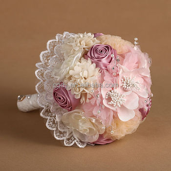 Pink chiffon flower bouquet with lacewedding bridal bouquet buy pink chiffon flower bouquet with lacewedding bridal bouquet mightylinksfo
