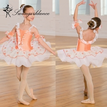 BL0141 Factory cheap Sales orange Ballet Tutu costume with lace