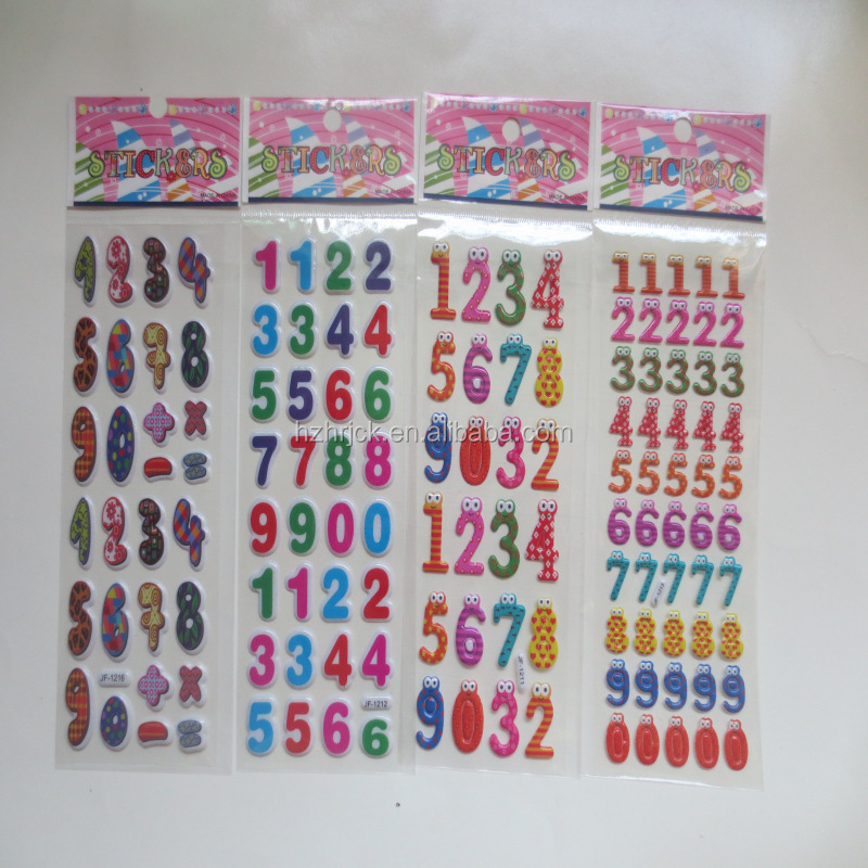 decorative Sticker Style and party Decoration Use kids number stickers 3d Sticker