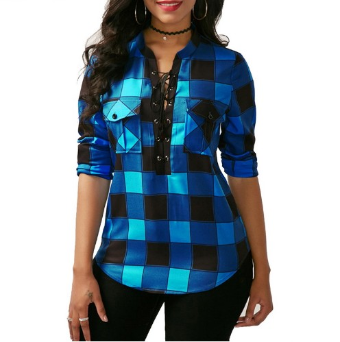 Women Plaid Shirts 2018 Spring Long Sleeve Blouses Shirt Office Lady Cotton Lace up Shirt Tunic Casual Tops Plus Size