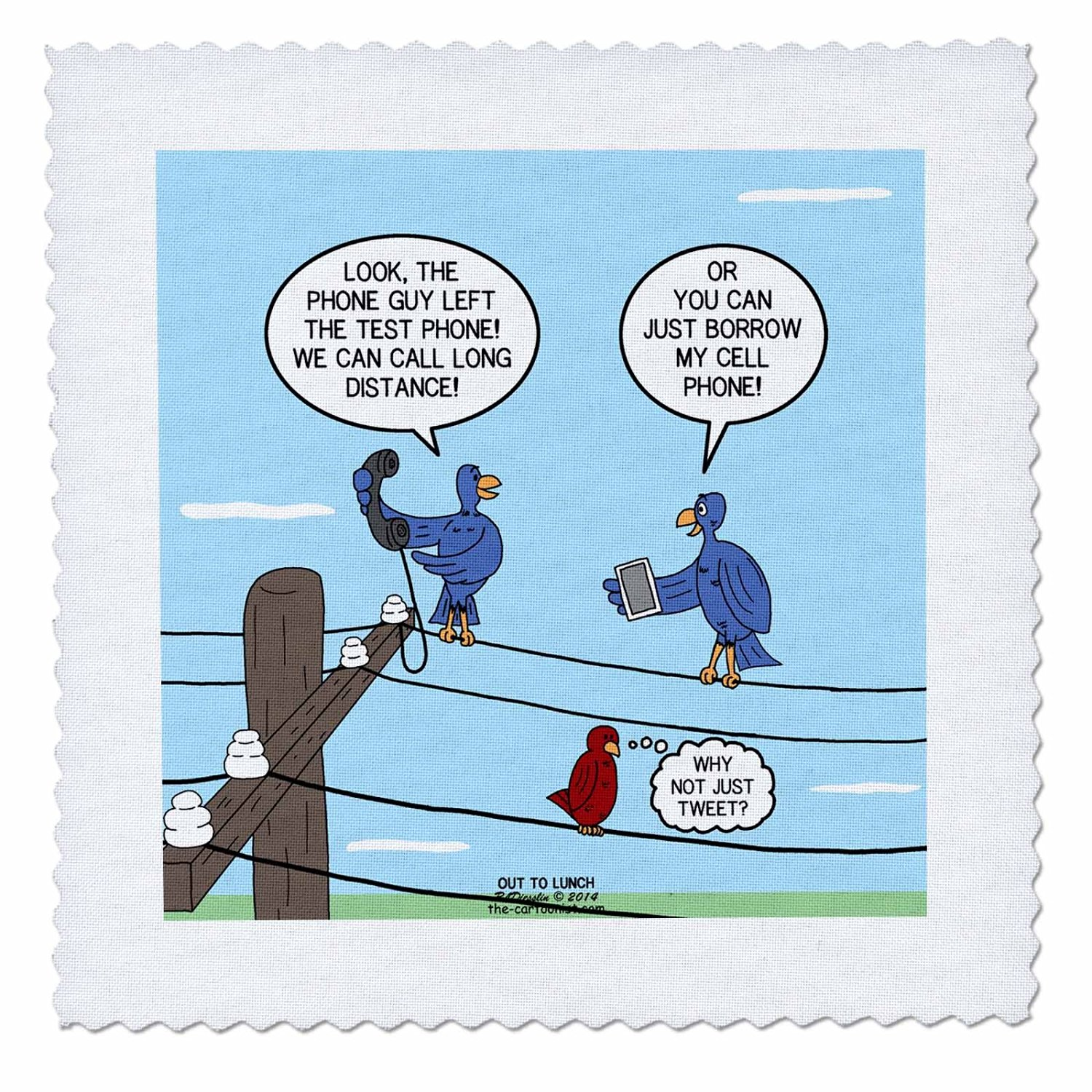 Buy Rich Diesslins Funny Out To Lunch Cartoons Bird Calls Land Line Vs Cell Phones Vs Tweeting 8x8 Iron On Heat Transfer For White Material Ht 221298 1 In Cheap Price