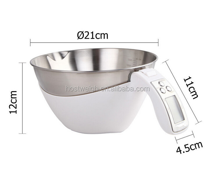 Stainless steel bowl Digital Kitchen measuring mug scale ABS plastic cup and handle environmental protection