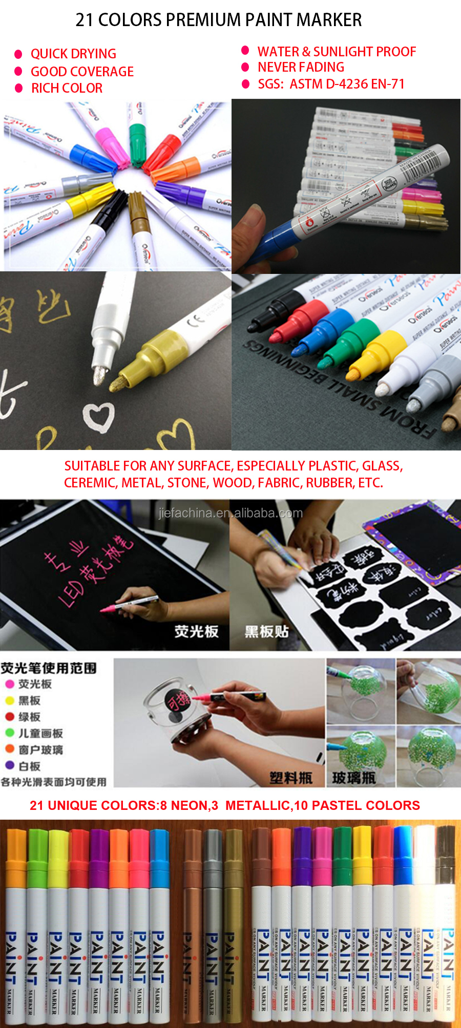 Permanent Waterproof Alcohol or Acrylic paint marker pen set suitable for wood,plastic,glass,ceramic,fabric any surface