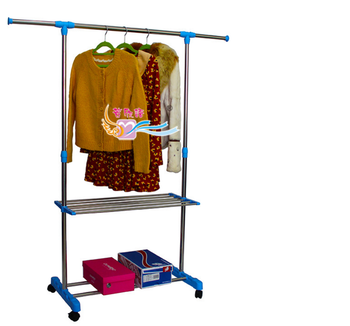 Movable Single And Double Pole Clothes Rack With 2 Layers Shoe Rack
