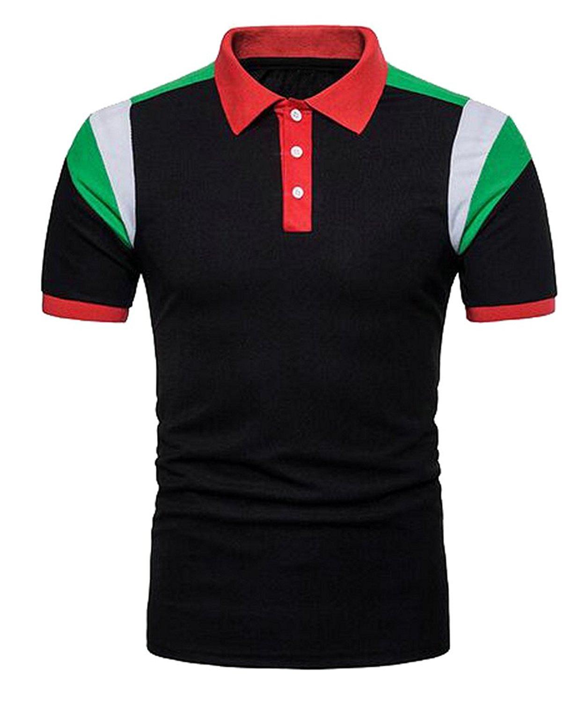 545539421c3 Get Quotations · SYTX Mens Summer Color Block Short Sleeve Dress Golf Polo  Shirt T-Shirt