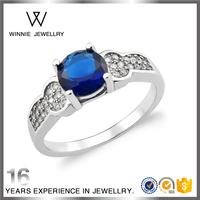 Sapphire gemstone blue stone CZ diamond zirconia engagement wedding ring for women-RC0604273257