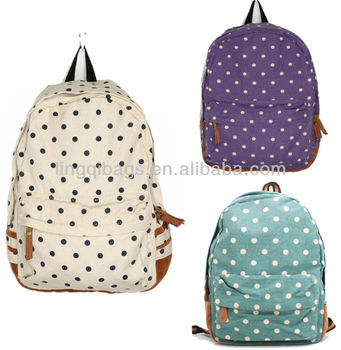 Vintage Japanese Style Cute Polka Dot Canvas School Backpack Bag ...