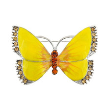 Customize Design Zinc Alloy Silver Plated Crystal Yellow Color Butterfly Wing Brooch