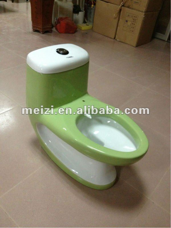 Double color one piece toilet with built-in bidet